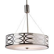 Baxton Studio Milene Modern and Contemporary White Fabric and Brush Nickel Metal Drum Pendant Light Baxton Studio restaurant furniture, hotel furniture, commercial furniture, wholesale living room furniture, wholesale ceiling lamps, classic ceiling lamps