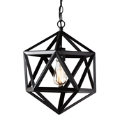 Baxton Studio Ginessa Modern and Contemporary Black Metal Geometric Pendant Light Baxton Studio restaurant furniture, hotel furniture, commercial furniture, wholesale living room furniture, wholesale ceiling lamps, classic ceiling lamps