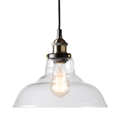 Baxton Studio Thais Vintage Rustic Farmhouse Black Metal and Glass Pendant Light Baxton Studio restaurant furniture, hotel furniture, commercial furniture, wholesale living room furniture, wholesale ceiling lamps, classic ceiling lamps