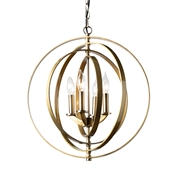 Baxton Studio Roisin Modern and Contemporary Antique Brass Metal 4-Light Orb Chandelier Baxton Studio restaurant furniture, hotel furniture, commercial furniture, wholesale living room furniture, wholesale ceiling lamps, classic ceiling lamps
