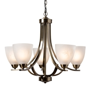 Baxton Studio Ciaran Modern and Contemporary Antique Brass Metal and Frosted Glass 5-Light Chandelier Baxton Studio restaurant furniture, hotel furniture, commercial furniture, wholesale living room furniture, wholesale ceiling lamps, classic ceiling lamps