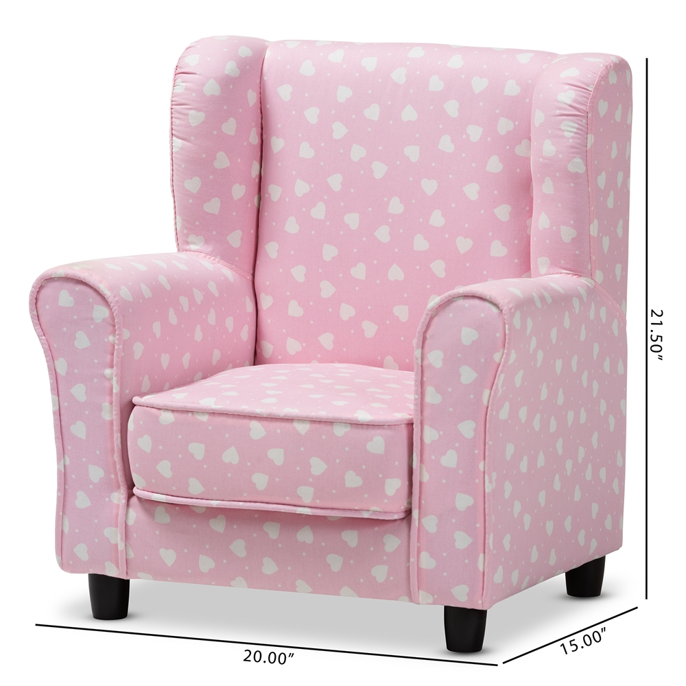 Prime Baxton Studio Selina Modern And Contemporary Pink And White Heart Patterned Fabric Upholstered Kids Armchair Creativecarmelina Interior Chair Design Creativecarmelinacom