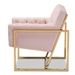 Baxton Studio Milano Modern and Contemporary Pink Velvet Fabric Upholstered Gold Finished Lounge Chair - IETSF7719-Pink/Gold-CC