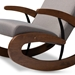 Baxton Studio Kaira Modern and Contemporary 2-Piece Gray Fabric Upholstered and Walnut-Finished Wood Rocking Chair and Ottoman Set - IEBBT5317-Grey-Otto-Set