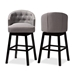 Baxton Studio Theron Transitional Gray Fabric Upholstered Wood Swivel Bar Stool Set - IEBBT5210B-Grey-BS