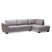 Baxton Studio Petra Modern and Contemporary Gray Fabric Upholstered Right Facing Sectional Sofa Baxton Studio restaurant furniture, hotel furniture, commercial furniture, wholesale living room furniture, wholesale sofa, classic sofas