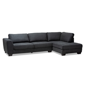 Baxton Studio Petra Modern and Contemporary Charcoal Fabric Upholstered Right Facing Sectional Sofa Baxton Studio restaurant furniture, hotel furniture, commercial furniture, wholesale living room furniture, wholesale sofa, classic sofas