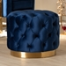 Baxton Studio Valeria Glam Royal Blue Velvet Fabric Upholstered Gold-Finished Button Tufted Ottoman - IETSFOT030-Dark Royal Blue/Gold-Otto
