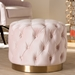Baxton Studio Valeria Glam Light Pink Velvet Fabric Upholstered Gold-Finished Button Tufted Ottoman - IETSFOT030-Light Pink/Gold-Otto
