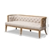 Baxton Studio Agnes French Provincial Beige Linen Fabric Upholstered and White-Washed Oak Wood Sofa - IETSF99113-Beige/Natural Oak-SF