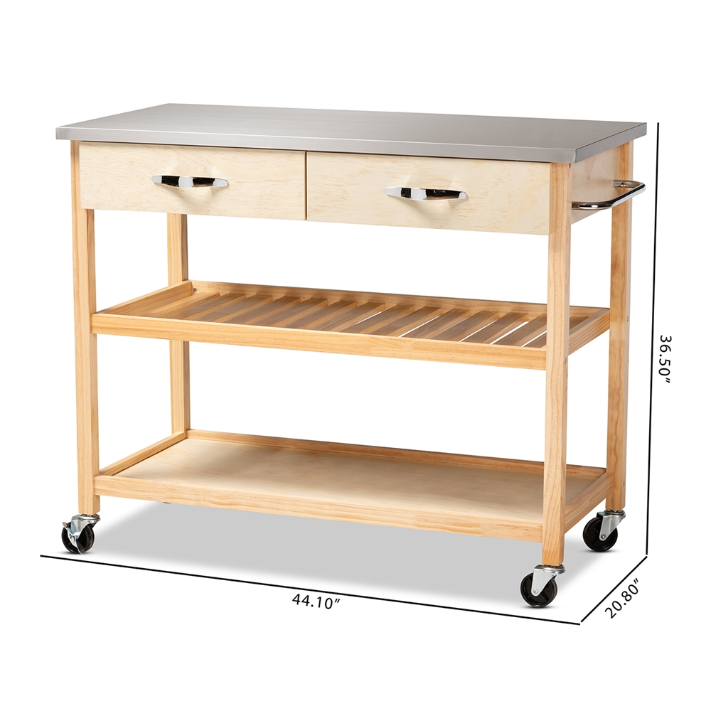 Baxton Studio Cresta Modern and Contemporary Pine Wood and Stainless Steel  2-Drawer Kitchen Island Utility Storage Cart