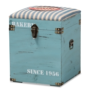 Baxton Studio Caye Vintage Striped Fabric Upholstered Light Blue Finished Wood Storage Trunk Ottoman Baxton Studio restaurant furniture, hotel furniture, commercial furniture, wholesale living room furniture, wholesale ottoman, classic ottoman