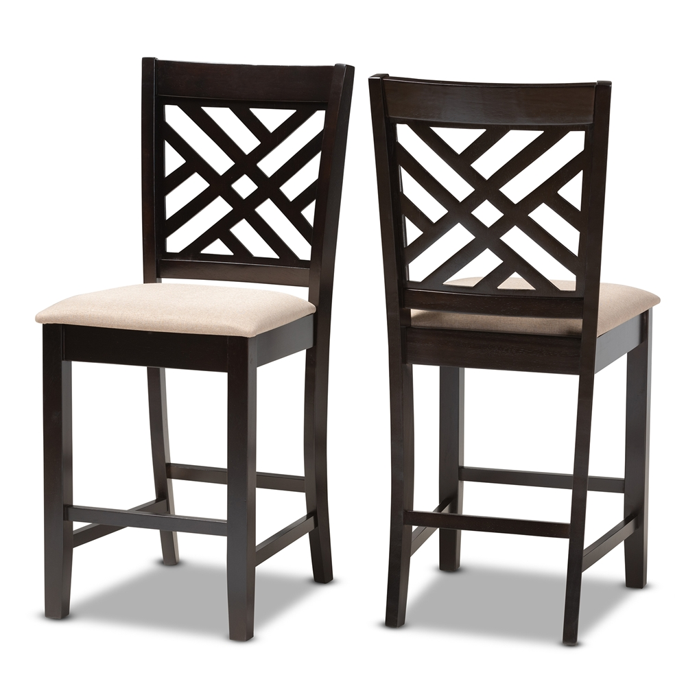 Fabulous Baxton Studio Caron Modern And Contemporary Sand Fabric Upholstered Espresso Brown Finished Wood Counter Height Pub Chair Set Of 2 Inzonedesignstudio Interior Chair Design Inzonedesignstudiocom