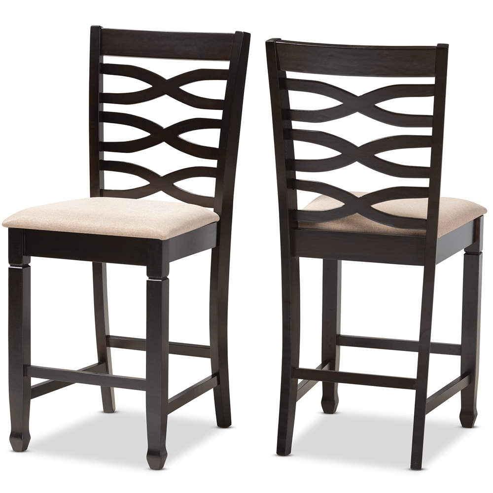 Fantastic Baxton Studio Lanier Modern And Contemporary Sand Fabric Upholstered Espresso Brown Finished Wood Counter Height Pub Chair Set Of 2 Inzonedesignstudio Interior Chair Design Inzonedesignstudiocom
