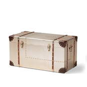 Baxton Studio Bechet French Industrial Silver Metal Storage Trunk Baxton Studio restaurant furniture, hotel furniture, commercial furniture, wholesale living room furniture, wholesale storage ottoman, classic storage ottoman