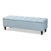 Baxton Studio Brette Mid-Century Modern Light Blue Fabric Upholstered Dark Brown Finished Wood Storage Bench Ottoman Baxton Studio restaurant furniture, hotel furniture, commercial furniture, wholesale living room furniture, wholesale storage ottoman, classic storage ottoman