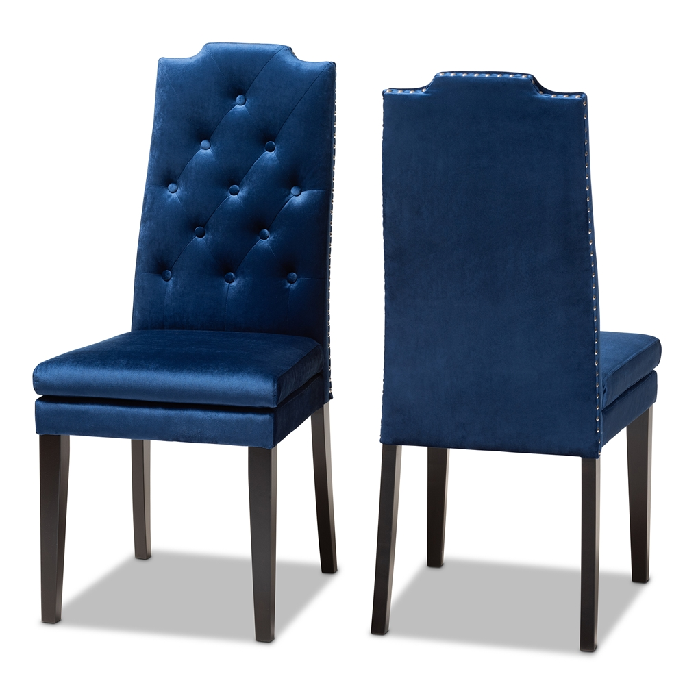 Pleasant Baxton Studio Dylin Modern And Contemporary Navy Blue Velvet Fabric Upholstered Button Tufted Wood Dining Chair Set Of 2 Bralicious Painted Fabric Chair Ideas Braliciousco