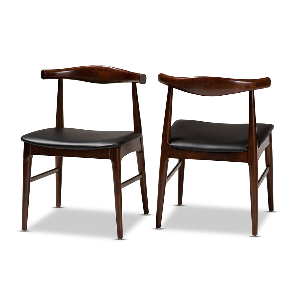 Baxton Studio Eira Mid Century Modern Black Faux Leather Upholstered Walnut Finished Wood Dining Chair Set Of 2