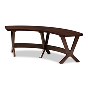 Baxton Studio Berlin Mid-Century Modern Walnut Finished Wood Curved Dining Bench Baxton Studio restaurant furniture, hotel furniture, commercial furniture, wholesale dining room furniture, wholesale bench, classic bench