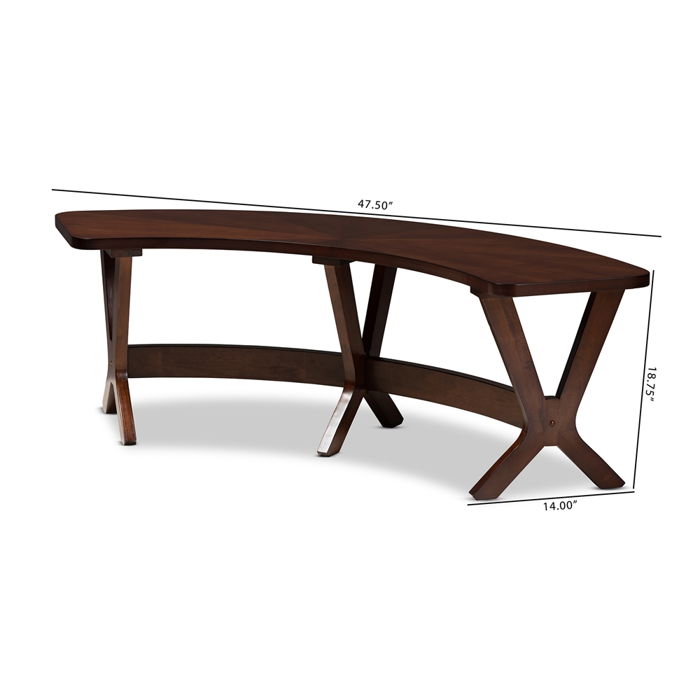 Phenomenal Baxton Studio Berlin Mid Century Modern Walnut Finished Wood Curved Dining Bench Gmtry Best Dining Table And Chair Ideas Images Gmtryco