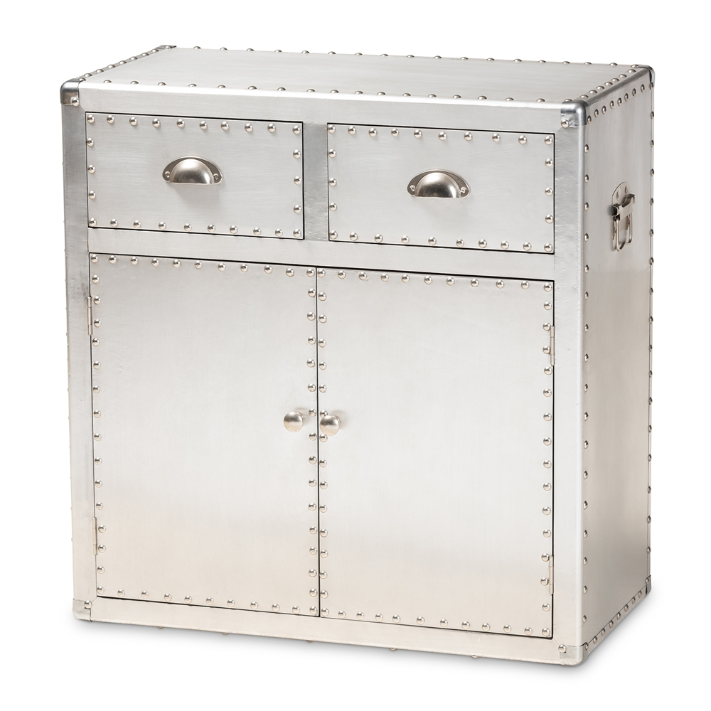 Baxton Studio Serge French Silver Metal 2 Door Accent Storage Cabinet
