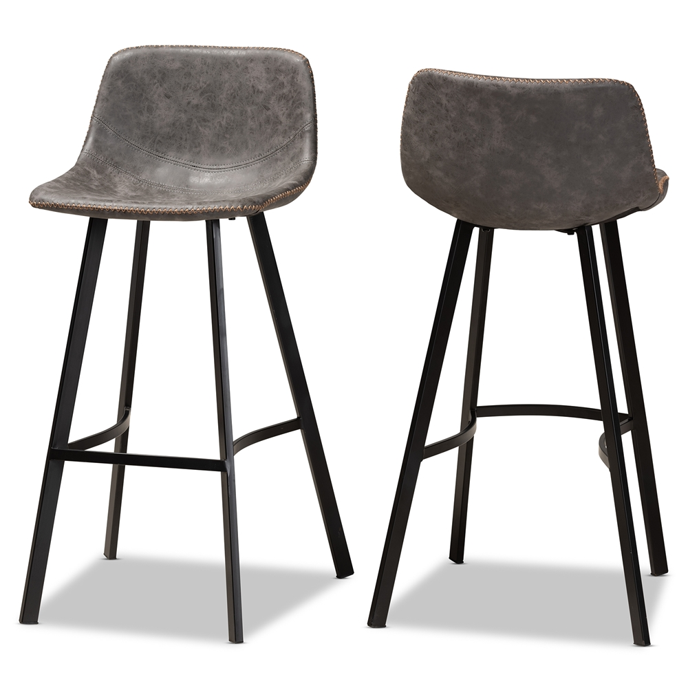Surprising Baxton Studio Tani Rustic Industrial Grey And Brown Faux Leather Upholstered Black Finished 2 Piece Metal Bar Stool Set Inzonedesignstudio Interior Chair Design Inzonedesignstudiocom