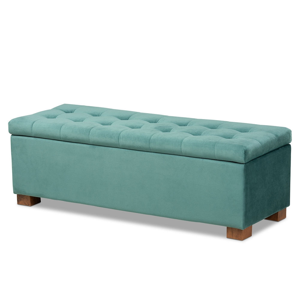 Swell Baxton Studio Roanoke Modern And Contemporary Teal Blue Velvet Fabric Upholstered Grid Tufted Storage Ottoman Bench Uwap Interior Chair Design Uwaporg