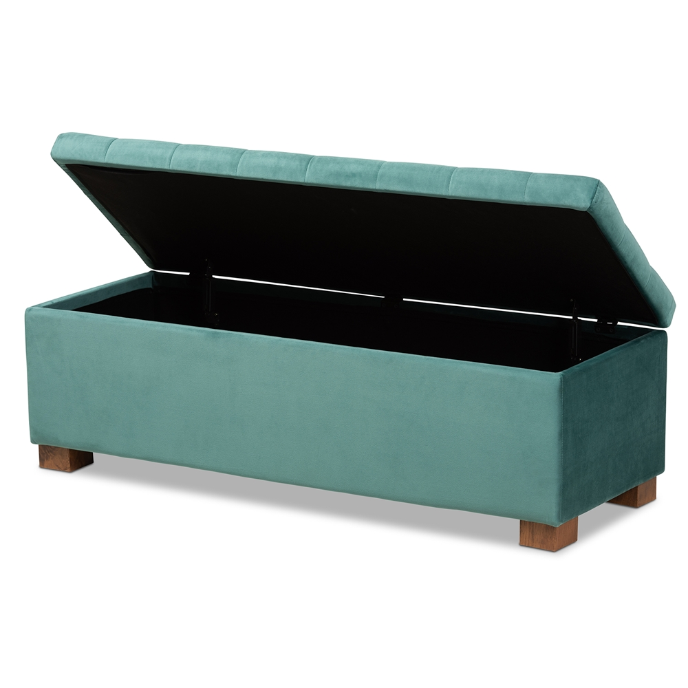 Amazing Baxton Studio Roanoke Modern And Contemporary Teal Blue Velvet Fabric Upholstered Grid Tufted Storage Ottoman Bench Ocoug Best Dining Table And Chair Ideas Images Ocougorg