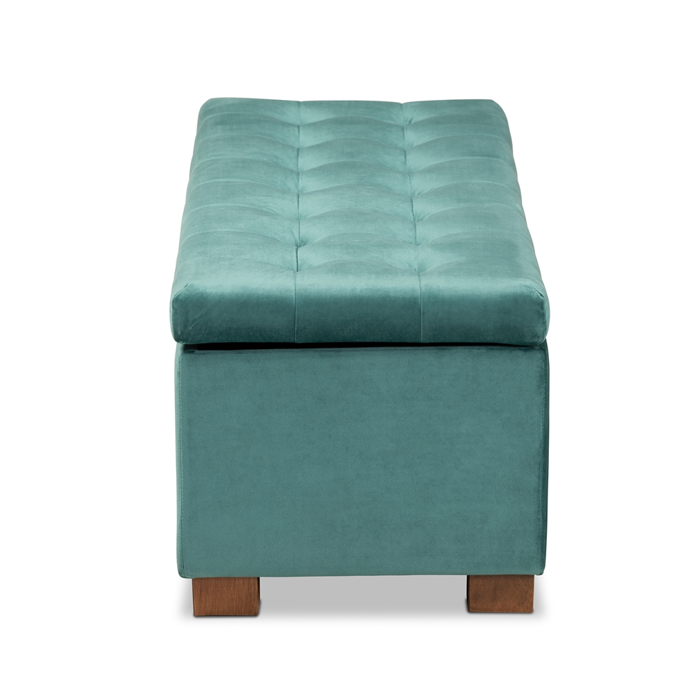 Swell Baxton Studio Roanoke Modern And Contemporary Teal Blue Velvet Fabric Upholstered Grid Tufted Storage Ottoman Bench Bralicious Painted Fabric Chair Ideas Braliciousco