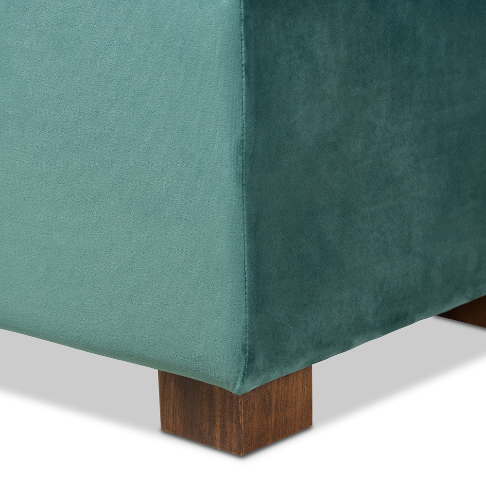 Strange Baxton Studio Roanoke Modern And Contemporary Teal Blue Velvet Fabric Upholstered Grid Tufted Storage Ottoman Bench Ocoug Best Dining Table And Chair Ideas Images Ocougorg
