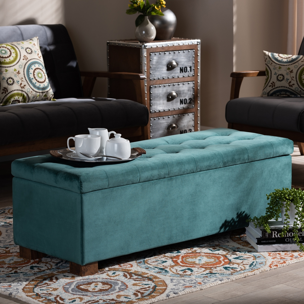 Incredible Baxton Studio Roanoke Modern And Contemporary Teal Blue Velvet Fabric Upholstered Grid Tufted Storage Ottoman Bench Creativecarmelina Interior Chair Design Creativecarmelinacom