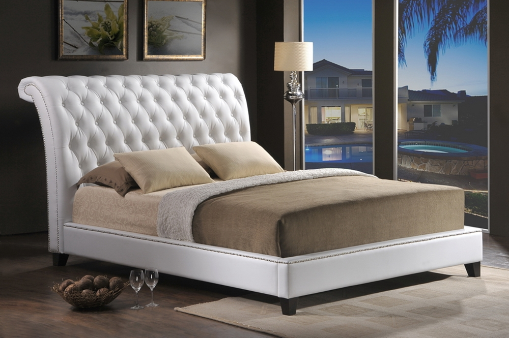 Baxton Studio Jazmin Tufted White Modern Bed With