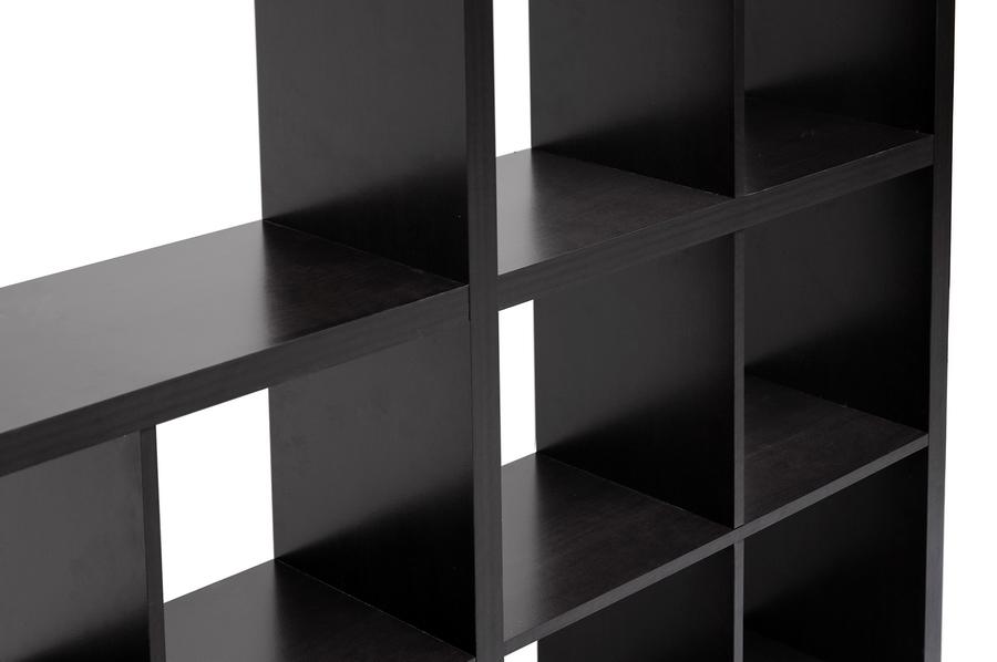 Baxton Studio Sunna Dark Brown Modern Cube Shelving Unit