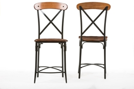 Baxton Studio Broxburn Light Brown Wood & Metal Bar Stool (Set of 2) Baxton StudioBroxburn Light Brown Wood & Metal Bar Stool, FurnitureBar Furniture