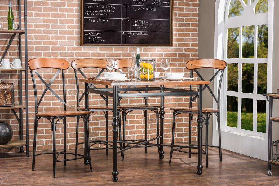 Baxton StudioBroxburn Light Brown Wood & Metal Pub Table | Interior ...