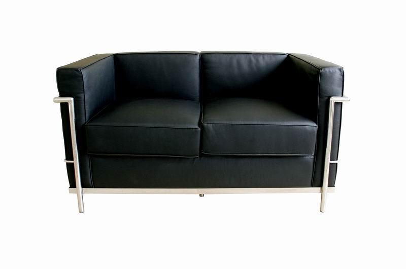 Le Corbusier Loveseat In Black Leather W Chrome Petite Interior Express