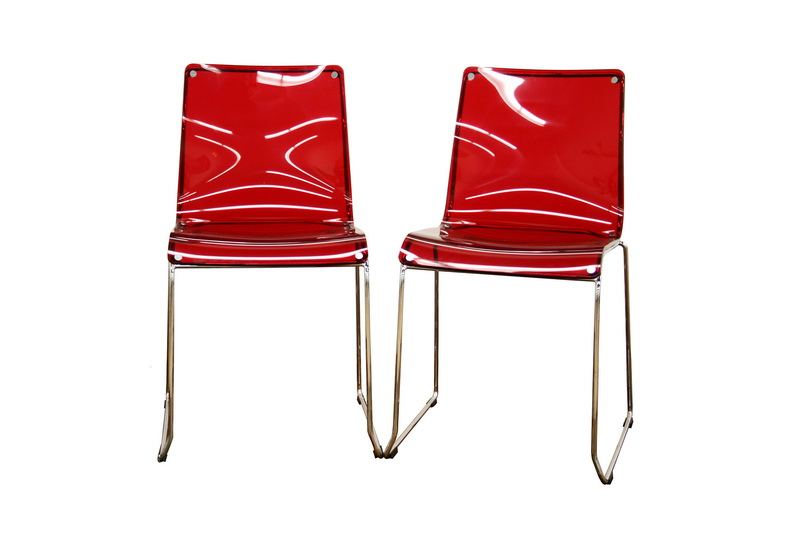 Lino Transparent Red Acrylic Accent Chair Dining Chair (Set of 2) - IECC- ...  sc 1 st  Interior Express : perspex dining table and chairs - Cheerinfomania.Com
