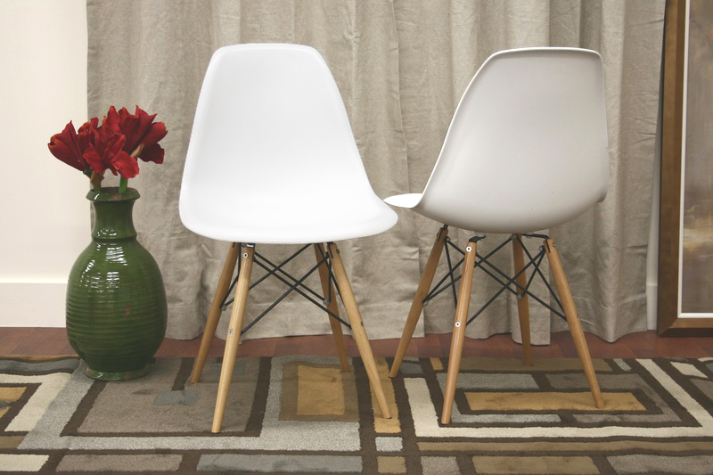 Azzo White Plastic Accent Chair With Metal Support Wood