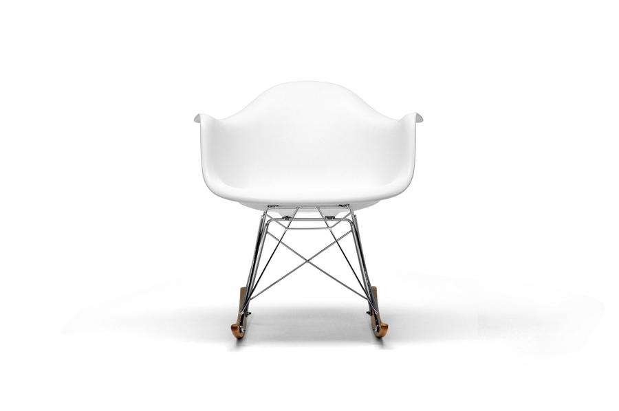 ... Chuck White Molded Plastic Rocking Chair With Metal Legs And Wood Feet  ...