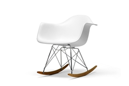 Chuck White Molded Plastic Rocking Chair with Metal Legs and Wood Feet