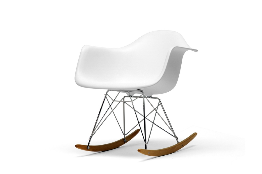 Superieur Chuck White Molded Plastic Rocking Chair With Metal Legs And Wood Feet