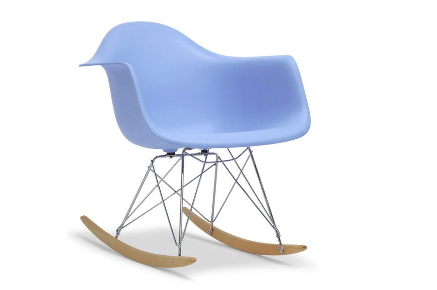 Blue Molded Plastic Shell Rocking Chair