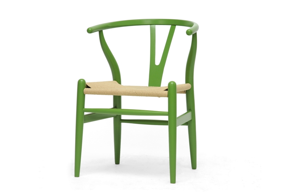 baxton studio mid century modern wishbone chair green