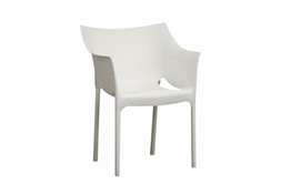 White Molded Plastic Arm Chair Set of 2