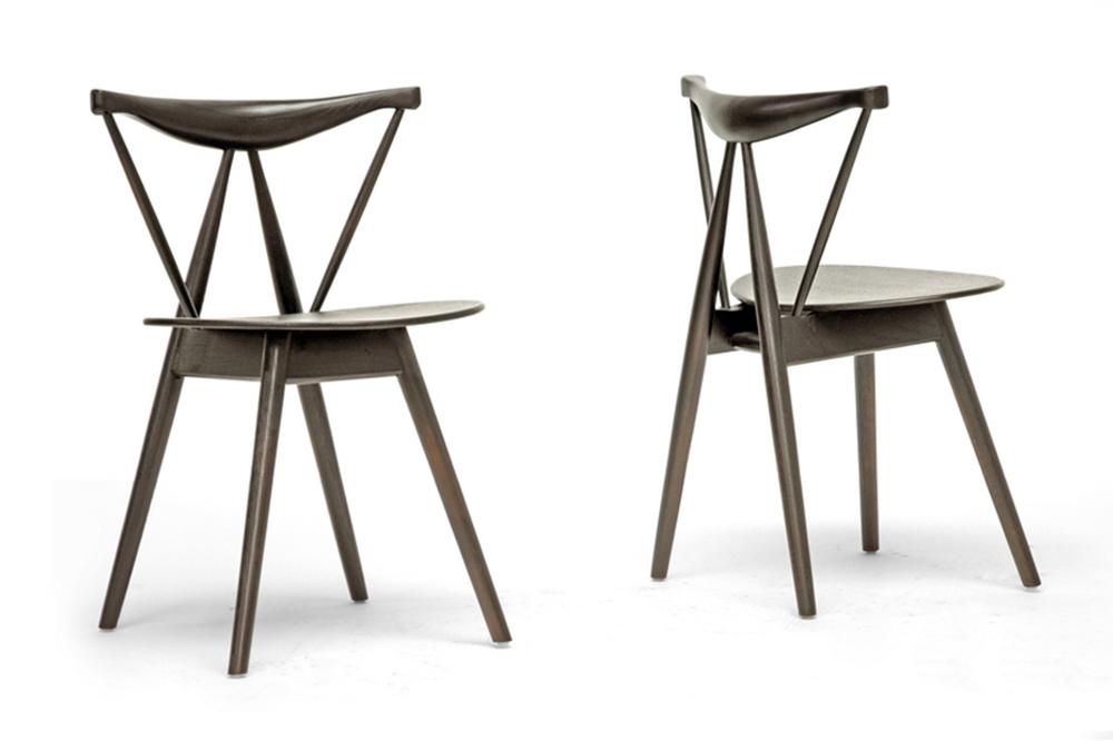 baxton studio mercer brown wood modern dining chair set