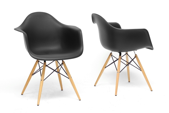 Baxton Studio Pascal Black Plastic Mid Century Modern Shell Chair Living Ro
