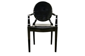 Ghost Chair - Black Acrylic Stackable Arm Chair (set of 2)
