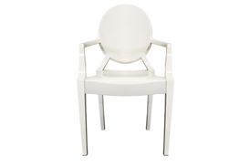 Ghost Chair - Ivory Acrylic Stackable Arm Chair (set of 2)