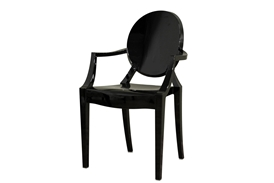 Ghost Chair - Black Acrylic Stackable Arm Chair