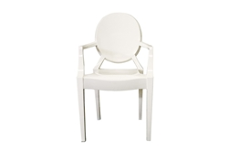 Ghost Chair - Ivory Acrylic Stackable Arm Chair